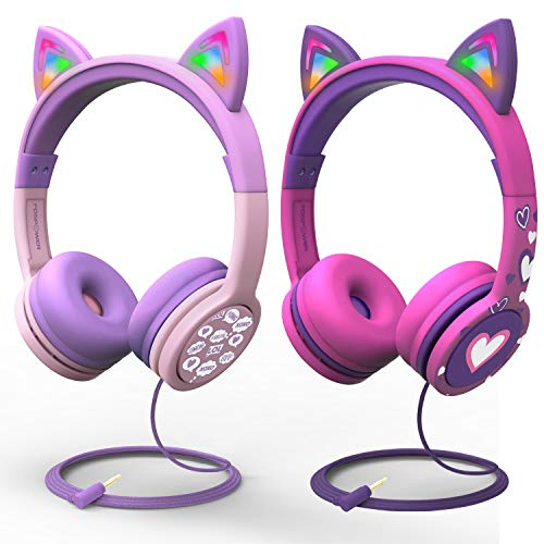 FosPower Kids Headphones Bundle Pack with LED Light Up Cat Ears 3.5mm On Ear Audio Headphones for Kids with Laced Tangle…