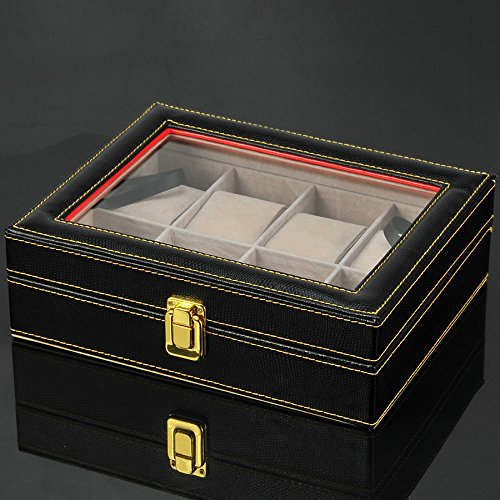 Watch Box Wood 8 Slots Watch Jewelry Display Storage Boxes with Glass Top and Removal Storage Pillows with Lockable Keys,A-L25.5W20.5H8.5cm by Watch Boxes (Image #5)