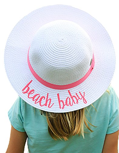 broidered Sun Hat - Beach Baby (White) (Lifeguard White Hat)