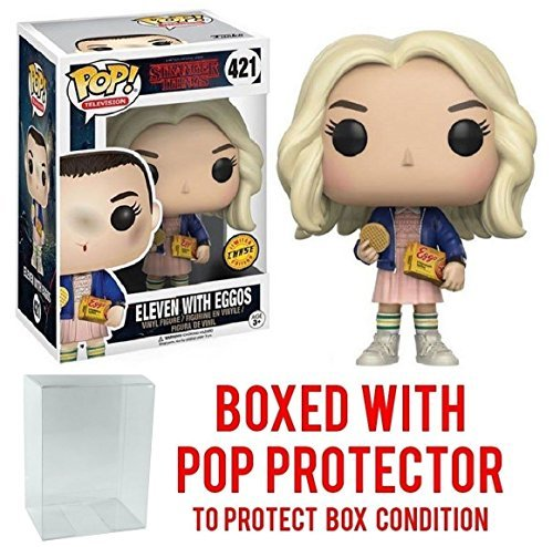 Funko Pop! TV: Stranger Things Eleven In Wig with Eggos Chase Variant Vinyl Figure (Bundled with Pop BOX PROTECTOR -