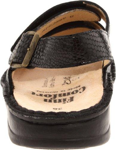 Finn Comfort Donna Sylt 82509 Sandalo Nero / Serpente Nappa Plantare Morbido