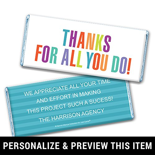 Thank You Favors Personalized Chocolate Bar Wrappers - Blue Foil (25 -