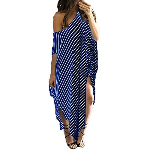 F_Gotal Womens Dresses Summer Casual Bat-Wing Sleeve Striped Lrregular Dress Beach Sundress Party Cocktail Blue