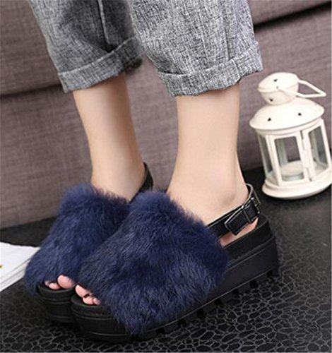 Muffin Buckle Rabbit Girllike Fur Blue Women Bottom Sandals URTq8g