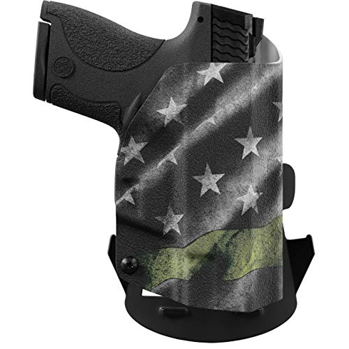 We The People - OWB Holster Compatible with Taser Pulse Gun - Outside Waistband Concealed Carry Kydex Holster (Right Hand, Thin Green Line)