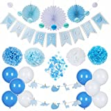 Baby Shower Decorations | It's a Boy | Baby Boy | Party Supplies Set | Blue/White | Hanging Banner Balloons Honeycomb Garland Paper Fans Pom Poms Confetti | Animal Theme | Indoor/Outdoor