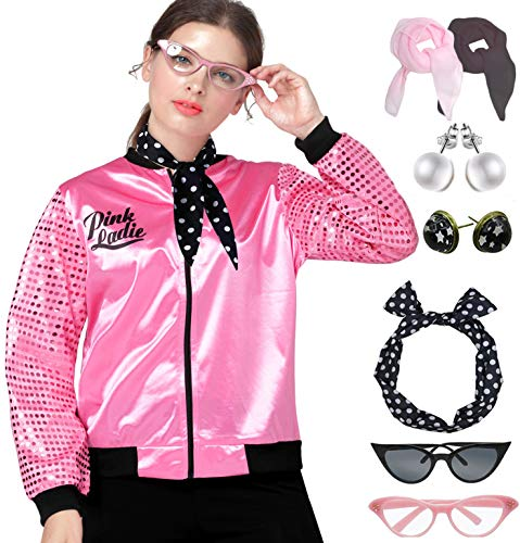 1950s Sequins Pink Ladies Jacket Adult T Bird Costume Accessories Set (M, Hot Pink Set)]()