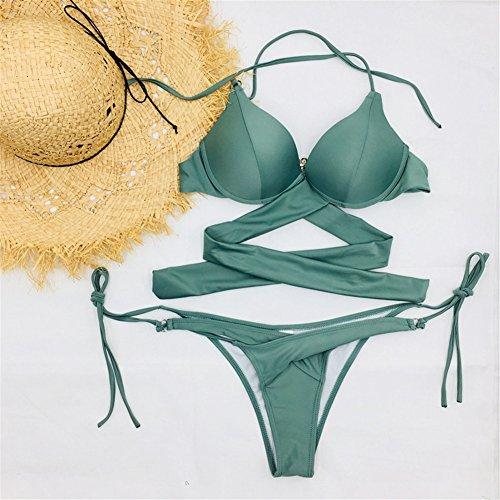 c0d87bbbff861a Damen Bademode Push Up Bikini Sets Swimwear Swimsuit Neckholder Bathing Suit  hibote Grün 6eKqrj4z outlet