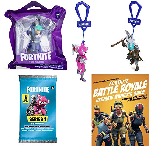 Fortnite Gamer Ragnarok Clip-On Hanger Figure Bundled with Technique Series 1 & Cuddle Team Leader Pink Bear + Trading Cards & Battle Royale Guide Book 5 Items