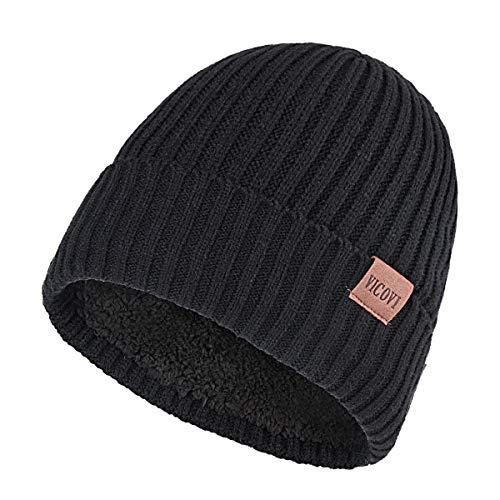 VICOVI Winter Knit Beanie Hats for Men and Women Warm Fleece Stretch Slouchy Skull Cap Black