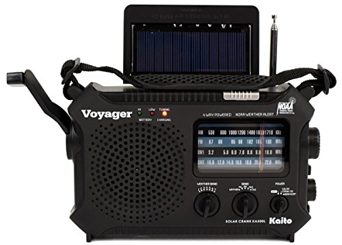 Kaito KA500L 4-Way Powered Emergency AM/FM/SW NOAA Weather Alert Radio with Solar,Dynamo Crank,Flashlight and Reading Lamp, with Larger Battery and Solar Panel, Black