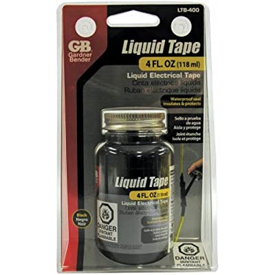 Gardner Bender LTB-400 Liquid Electrical Tape, Easy-on, Waterproof, Indoor/Outdoor Use, 4 Oz. Jar, Black