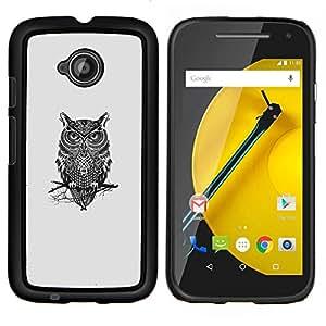 Qstar Arte & diseño plástico duro Fundas Cover Cubre Hard Case Cover para Motorola Moto E2 E2nd Gen (Gangsta Búho)