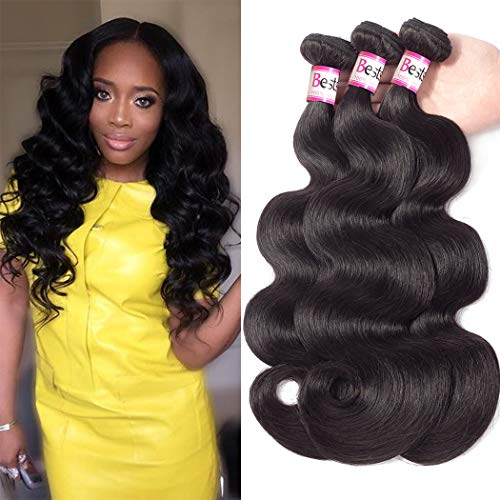 Bestsojoy Brazilian Virgin Human Hair Weave 4 Bundles 10A Unprocessed Brazilian Body Wave Hair Weft Extensions Natural Black Color(20 20 22 22)