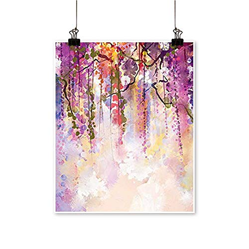 Canvas Print Wall Art Spring Flowers Wisteria Bokeh Background Painting Accessories Navy Purple Peach Canvas Texture Decoration,16