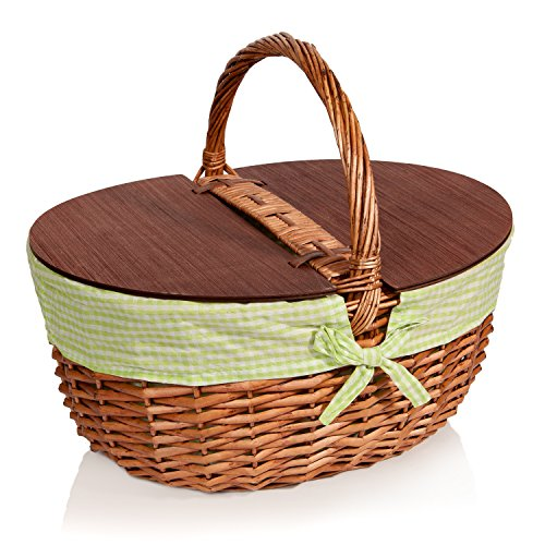 Picnic Basket with Lid - Extra Large - Thoughtful & Romantic - Woven Wicker - Includes Green Gingham Liner Romantic Picnic Basket