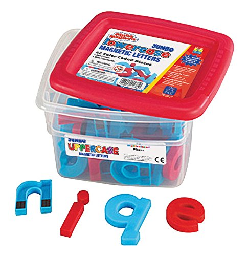 School Smart Jumbo Phonetically Color Coded Lowercase Magnetic Letters - 2 1/2 inches - Set of 42 - Blue and Red