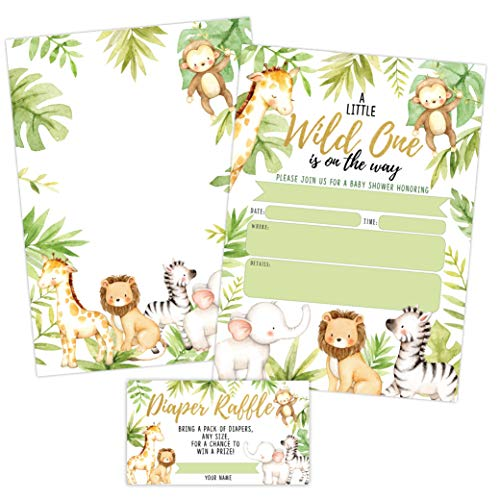 Jungle Baby Shower Invitations, Safari Elephant, Giraffe, Lion and Monley Baby Shower Invites with Diaper Raffles Cards, Sprinkle, 20 Invites Including Envelopes