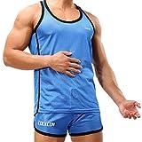 SUNVP Men's and Big Boys Basketball Jersey & Shorts Trainning Tank Top Suits Set (Blue, L)