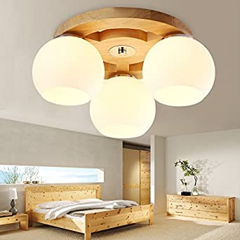 JJ Moderne LED Deckenleuchte Massivholz Lampen Nordic ,u003cbr /u003e Logs Stil  Schlafzimmer Licht