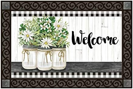 Studio M MatMates Farmhouse Daisies Decorative Floor Mat Indoor or Outdoor Doormat with Eco-Friendly Recycled Rubber Backing, 18 x 30 Inches
