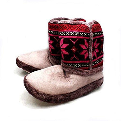 Piel de las señoras con bordes botas zapatilla superior hecha punto Heather