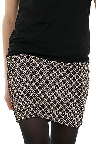 tasca 3Elfen con estate pipistrello con Retro Berlino a maniche Pixie de Marrone abito prodotta e minigonna corta wHxqHIBr