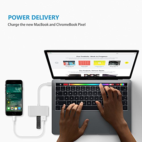 4-in-1 USB-C Hub with Type C, USB 3.0, USB 2.0 Ports for New Apple MacBook 12'' / New MacBook Pro 13'' 15'' / ChromeBook Pixel and other devices, Multiport Charging & Connecting Adapter-Silver by Exulight (Image #4)