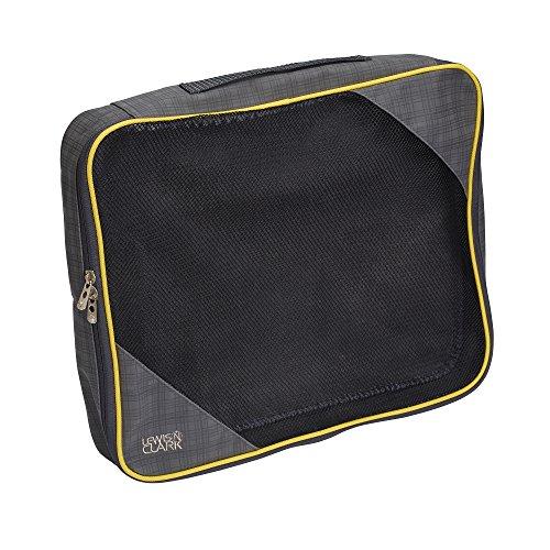 Lewis N Clark Packing Cube, Medium, Charcoal/Yellow (Lewis N Clark Wrinkle)