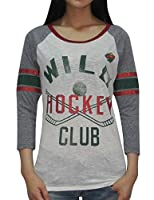 Minnesota Wild NHL Womens Hockey 3/4 Sleeve Glitter T-Shirt