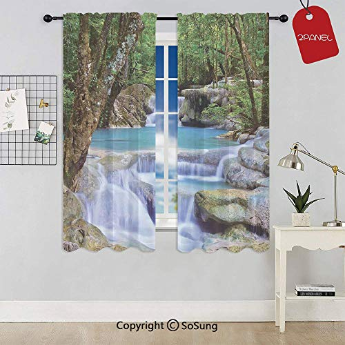 Fairy Image of Asian Waterfall by The Rocks in Forest Secret Paradise Decorative Rod Pocket Sheer Voile Window Curtain Panels for Kids Room,Kitchen,Living Room & Bedroom,2 Panels,Each 52x54 Inch,Gree