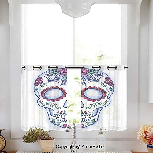 Sugar Skull Decor Sheer Curtains - White Half Window Semitransparent Sheer Tiers Valance for Kitchen/Cafe,W52 x L18-Inch,Day of The Dead Colorful Skull with Floral Ornament Hand Drawn Doodle Decorativ