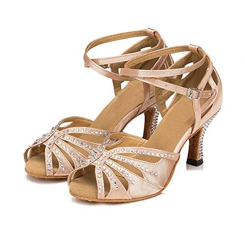 TTdancewear Frauen Strass Ballroom Dance Schuhe Latin Salsa Performance Tanzschuhe Nude-3inch Heels