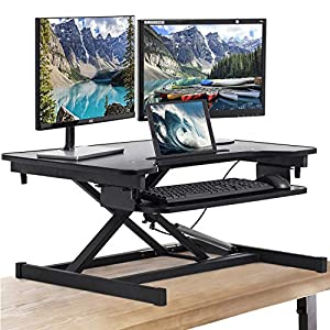 Dual monitor adustable sit to stand desk by FDW