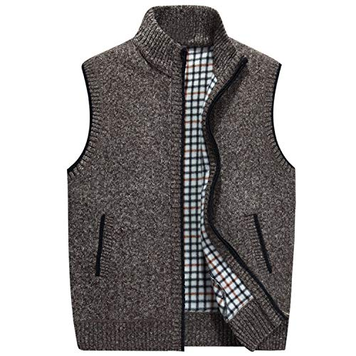 LOG SWIT Mens Winter Wool Sweater Vest Mens Sleeveless Knitted Vest Jacket New Warm Fleece Sweatercoat AZ403 Brown XXL (Best Interfacing For Wool)