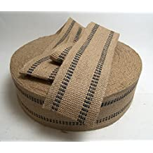 """Jute Webbing 3 1/2"""" Inch Width, Black Stripe 9 Pound Strength Sold By The Yard 36"""" Inches"""