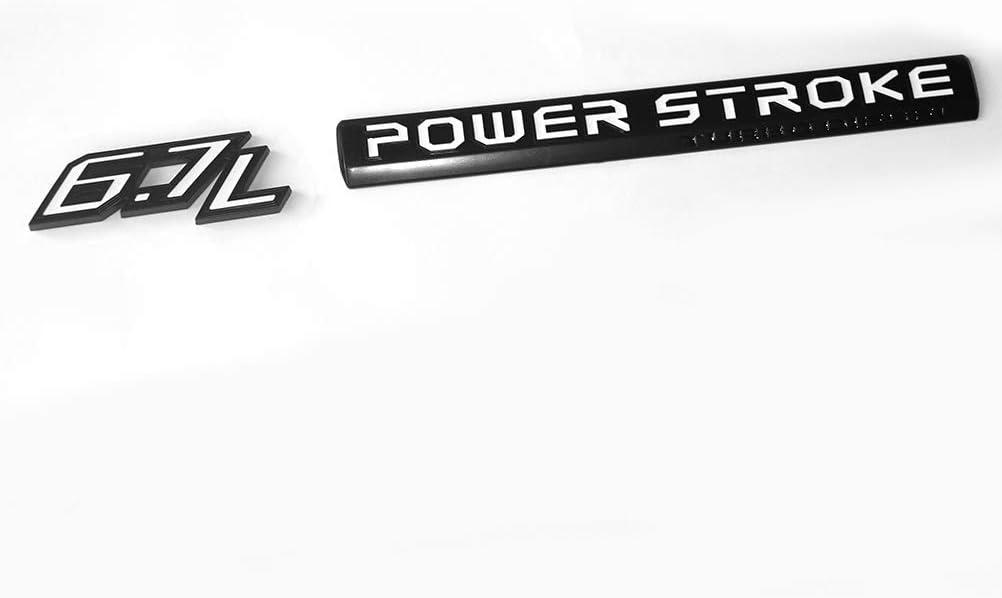 4pcs OEM 6.7L Powerstroke Emblem 6.7 L POWER STROKE Turbo Side Badge 3D Nameplate Replacement for F250 F350 F450 Black White