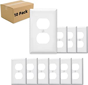 Wall Plates 1-Gang Duplex Device Receptacle Wallplate, Standard Size, Thermoplastic Nylon, Device Mount, White MICMI J59 (1 Gang, White 10pack)