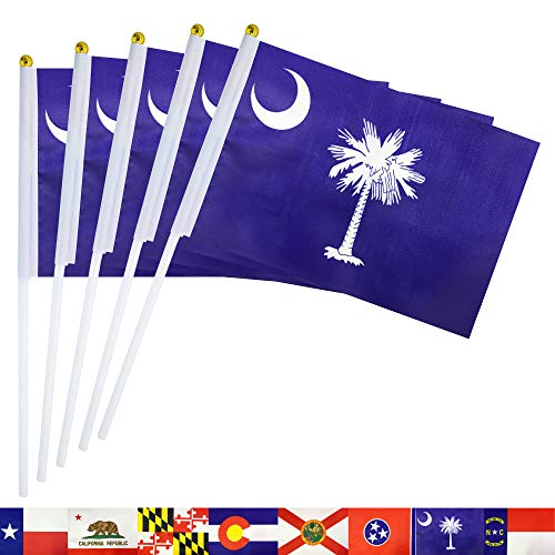 - TSMD South Carolina State Stick Flag,50 Pack Small Mini Hand Held South Carolina SC Flags Banner On Stick,Party Decorations Supplies for Parades,School Sports Event,International Festival Celebration