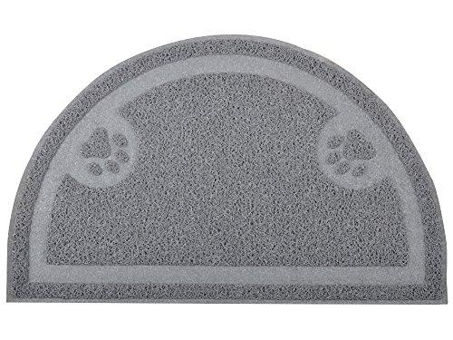 Litter Box Placement (DM Cat Pet Paw Litter Box Door Mat, Half Circle, Kitty Litter Rug, 23.5x14.25 Inches (Gray))