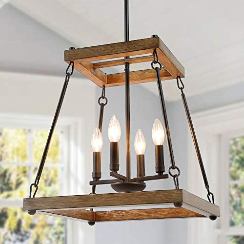 LALUZ Farmhouse Chandeliers for Dining Rooms, Pendant Chandelier for Living Room, Bedroom, Entryway, Rustic Square Faux Wood Lighting Fixtures Hanging