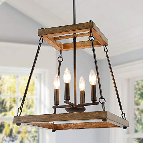 LALUZ Farmhouse Chandelier, Rustic Chandeliers for Dining Rooms, Living Room, Bedroom, Foyer, Faux Wood Square Pendant Lighting Fixtures Hanging