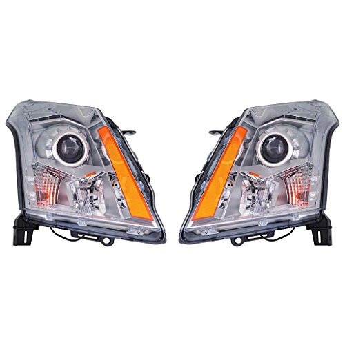 Fits Cadillac SRX 2010-2013 Headlight Assembly Halogen Pair Driver and Passenger Side (CAPA Certified) GM2502345, GM2503345