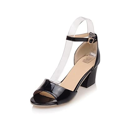 fa0205c6086 WeiPoot Women s PU Solid Buckle Open Toe Kitten-Heels Sandals with Wrist  Strap
