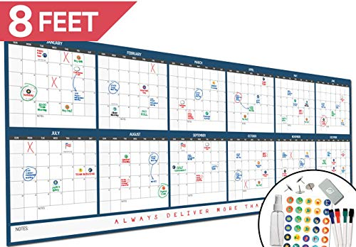 "Large Dry Erase Wall Calendar - 36"" x 96"" - 2019 Dated Giant Yearly Whiteboard Poster - Annual Year Planner - Laminated Office Jumbo 12 Month Calendar (Blue)"