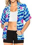LA LEELA Likre Luau Party Blouses Collar Shirt Bright Blue 213|M - US 36 - 38D