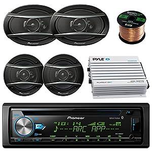 "Pioneer DEHX-6900BT Car CD MP3 Stereo Player With Bluetooth AM/FM Radio Bundle 2 X 6x9"" Inch 2 x 6.5"" Inch Pioneer Speakers, 400 Watt Car Audio Amp Complete Car Stereo Kit 50 ft 18g Speaker Wire"