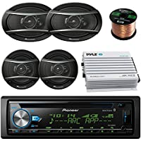 Pioneer DEHX-6900BT Car CD MP3 Stereo Player With Bluetooth AM/FM Radio Bundle 2 X 6x9 Inch 2 x 6.5 Inch Pioneer Speakers, 400 Watt Car Audio Amp Complete Car Stereo Kit 50 ft 18g Speaker Wire
