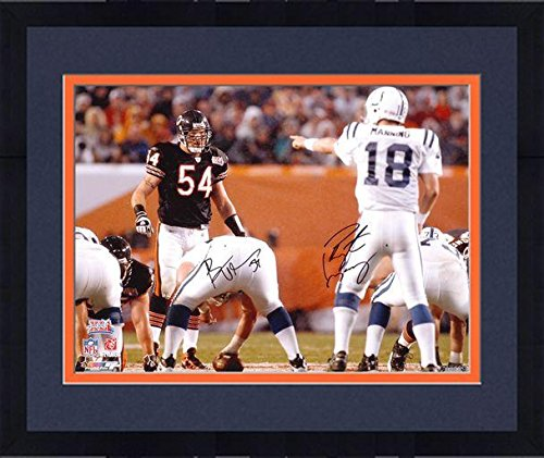 Framed Brian Urlacher and Peyton Manning Super Bowl XLI Autographed 16