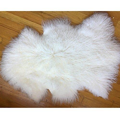 Evansmongolianfur Deluxe Genuine Mongolian fur Sheepskin Shaggy Rug One Pelt White Single,23'...